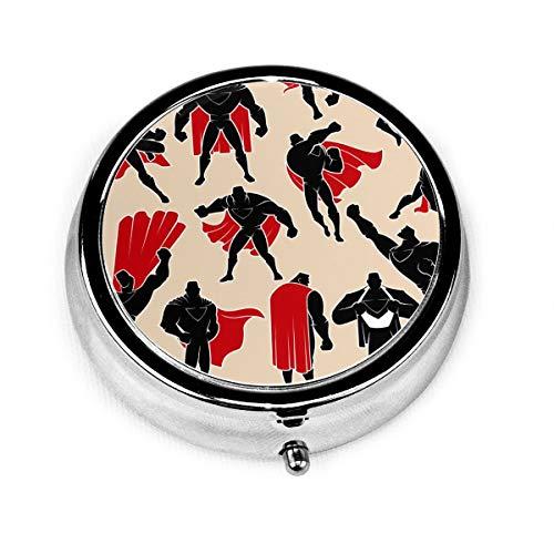 JOJOshop Tropisch Patroon met Toekan Schilderij Pil Box/Pill Case-Ronde Pil Box/Case-Three-Compartment Pill Box/Pill Case Eén maat Superhero in Different Action Poses
