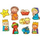 La Lluna Belén para Pintar. Belen Infantil Funny con 9 Figuras de Madera con imán para Pintar.