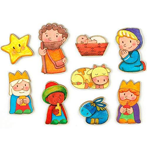 Belén para pintar. Belen infantil Funny con 9 figuras de madera con imán para pintar.