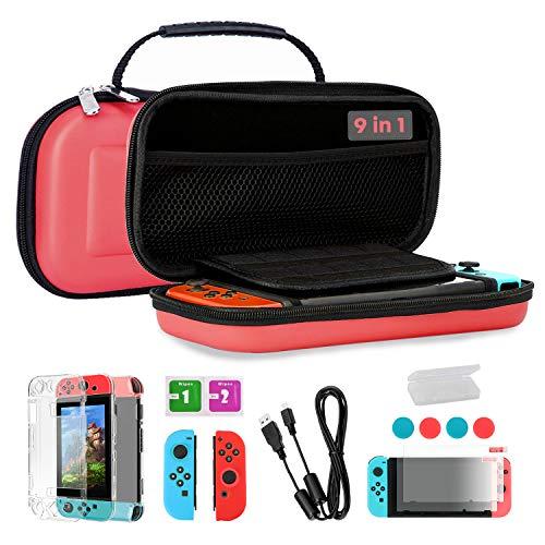 TKOOFN Fundas & Accesorios 9 en 1 Kit para Switch, EVA Estuche + 2 Fundas para Joy-con + 2 Protectores de Pantalla + Estuche Protector + 4 Tapones de Pulgar + Cable USB + Caja de Tarjetas