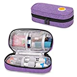 CURMIO Epipen Carrying Case for Adult and Kid, Portable Medicine Supplies Bag for 2 EpiPens, Auvi-Q, Syringes, Vials, Nasal Spray, Home and Travel, Purple
