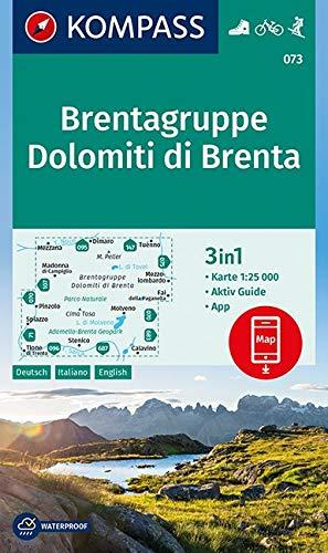 KOMPASS Wanderkarte Brentagruppe, Dolomiti di Brenta: 3in1 Wanderkarte 1:25000 mit Aktiv Guide inklusive Karte zur offline Verwendung in der ... Skitouren. (KOMPASS-Wanderkarten, Band 73)