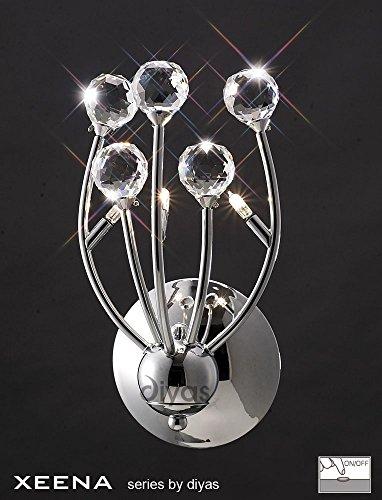 Xeena - Lámpara de pared (3 luces, cromo/cristal)