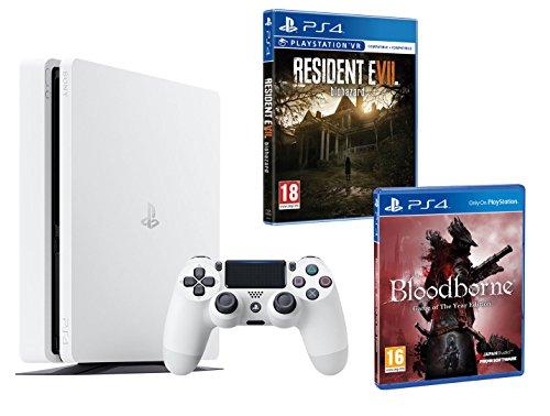 PS4Slim 500GB weiß Playstation 4Pack 2Spiele–Bloodborne GOTY + Resident Evil VII