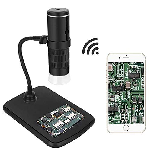 Aceshop WiFi Microscopio Digital, 1080P HD Mini Cámara,Aumento de 50 a 1000x Endoscopio,8 LED USB Microscopio Ddigital con Metal Soporte Compatible iPhone iOS Teléfono Android iPad