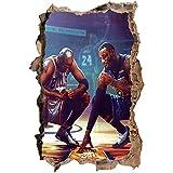 Nensuo 3D Adesivo murale Adesivo Muro Kobe Bryant Poster Decalcomania Sports NBA Giocatore di Basket per Ragazzo Camera da Letto per Camera dei Bambini della Scuola Materna -60 * 90CM-B_40*60CM