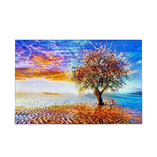 Rompecabezas para adultos y niños, rompecabezas de árbol de cielo colorido desierto de 500 piezas