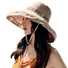 Lazz1on Chapeau de Soleil Femme Large Bord Casquette Visière Anti-UV Eté Chapeau de Plage pour Pêche en Plein Air Voyage