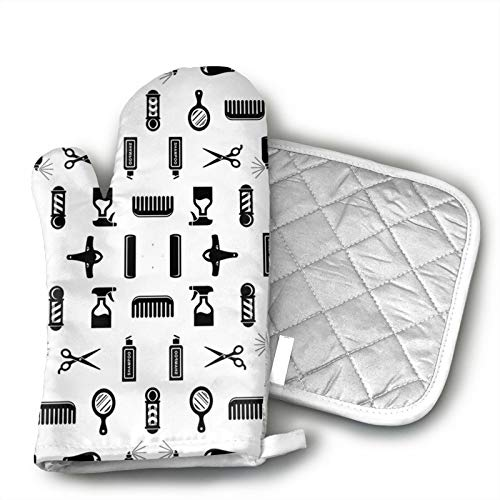 antcreptson Salon &Amp; Barber Hairdresser Oven Mitts and Potholders - Kitchen Set with Cotton Heat...