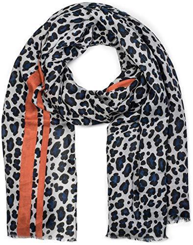 styleBREAKER Damen Schal mit Leo Muster, farbigem Streifen und Fransen, Tuch 01017082, Farbe:Blau-Orange