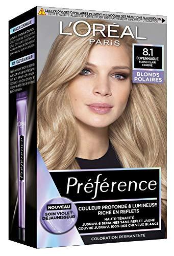 L'Oréal Paris Préférence Blond Polaire Coloration Permanente Cheveux, Nuance : Copenhague 8.1, Blond clair cendré