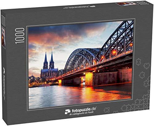 Puzzle 1000 Teile Kölner Dom und Hohenzollernbrücke bei Sonnenuntergang - Nacht - Klassische Puzzle, 1000 / 200 / 2000 Teile, edle Motiv-Schachtel, Fotopuzzle-Kollektion 'Staedte'