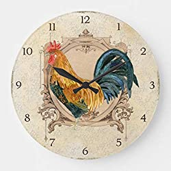 Vintage Style French Country Rustic Barn Rooster Modern Simple Wooden Wall Clock Silent Non-Ticking Clock for Living Room Home Office 12 Inches