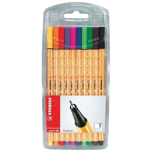 Stabilo 8810 - Point 88 Pen Fineliner 0.4mm Assorted PK10