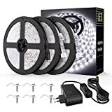 Onforu 15M Tira LED, IP65 Impermeable LED Strip, Blanco Frío 6000K Cinta Flexible, 12v Ma...