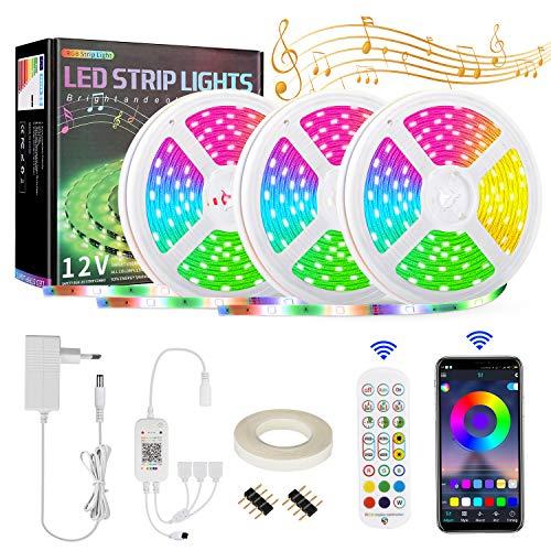 Etmury Striscia LED da 15 m, con telecomando a infrarossi a 24 tasti, funzione musicale 5050 RGB LED autoadesiva, per camera da letto, TV, soffitto, decorazione per armadio, festa