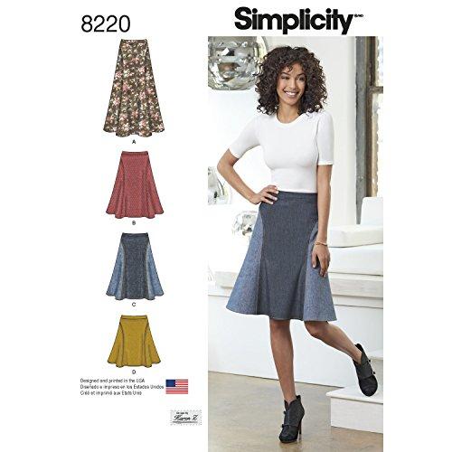 Simplicity Schnittmuster 8220Easy-to-sew damenröcke in DREI Längen, weiß