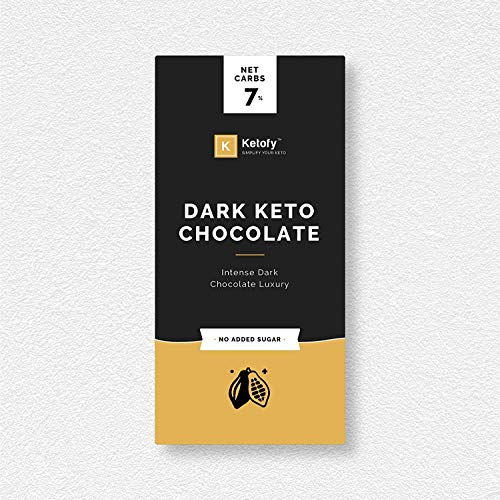 Ketofy - Dark Keto Chocolate (50g) | Sugar Free Unsweetened Intense Dark Chocolate | No Maltitol | Gluten Free