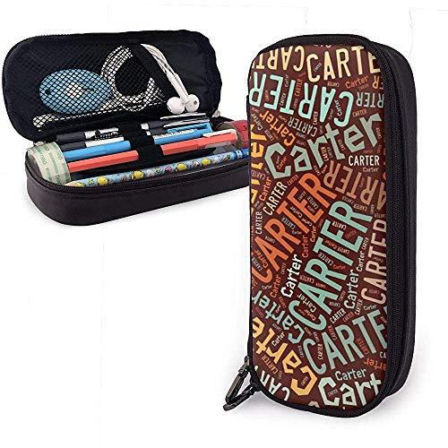 Carter - Estuche de lápices de cuero de gran capacidad de apellido americano, lápiz, lápiz, papelería, organizador, lápiz de maquillaje escolar, bolsa de cosméticos portátil