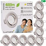 9x Lumare LED Einbaustrahler 4W 400 Lumen IP44 nur 27mm