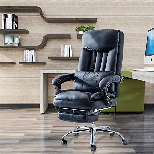 Ergonomic Desk Chair with Foot Rest, PU Leather High Back Adjustable Rocking Home Office Desk Chair with Flip-up Armrests, Load Capacity: 500 lbs (Black)