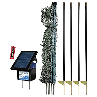 "Premier 48"" PermaNet Plus Starter Kit - Includes PermaNet Plus Net Fence - 100' L & Double Spiked, Solar IntelliShock 60 Fence Energizer, FiberTuff Support Posts & Fence Tester (White)"