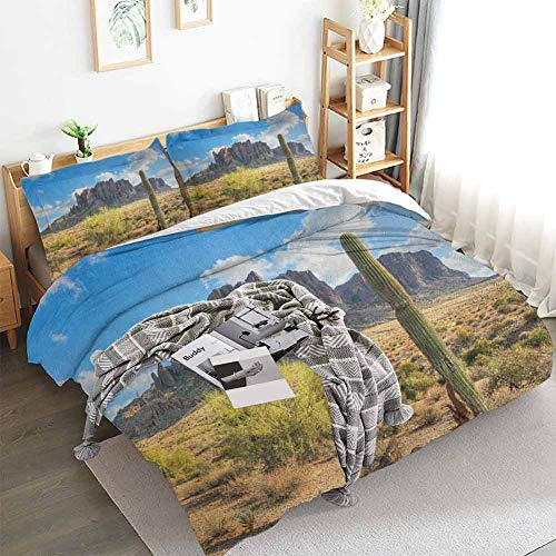 Aishare Store Saguaro Duvet Cover Set,Famous Canyon Cliff with Dramatic Cloudy Sky Southwest Terrain Place Nature,Decorative 3 Piece Bedding Set with 2 Pillow Shams,King(104'x90') Brown Green Blue
