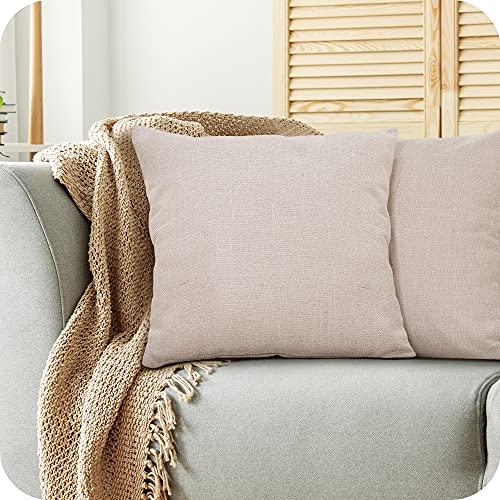 Amazon Brand - Umi Confezione da 2 Fodere per Cuscino Decorativo Quadrato Copricuscino con Chiusura Lampo per Divano Letto 45x45cm Beige