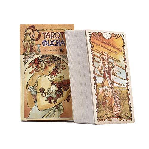 Tarotkarte für Anfänger 2 in 1 Set Tischdecke Schwarz Tarotkarten mit bunter Box 78 Tarotkarten Mucha Tarotkarten Universal Vintage Divination Future Telling Game Karten-Set