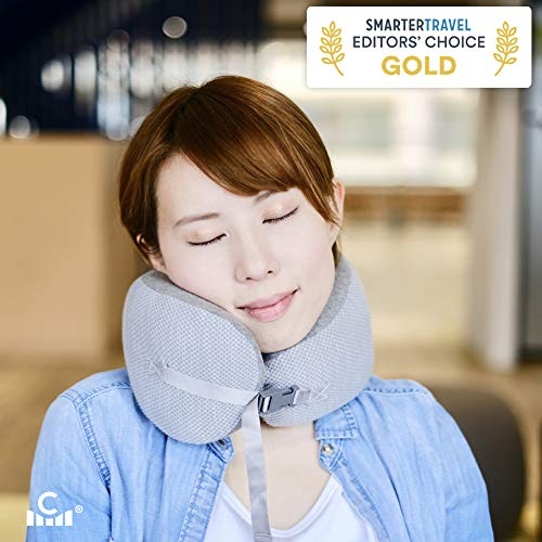 Cushion Lab Extra Support Travel Pillow, Award-Winning Patented Ergonomic Design for Chin & Neck Support Memory Foam Neck Pillow, Compact Airplane Pillow for Traveling, Flight, Car, Medium - Grey