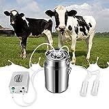 SKYWPOJU Máquina de ordeño, Grupo de ordeño eléctrico 5/7 / 14L con Bomba de Pulso de vacío Bomba de Leche portátil Máquina de ordeño de ovejas y Vacas (Color : For Cattle, Size : 7L)