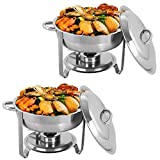Display4top Round Chafing Dish Set 3.5L Full Size Stainless Steel Chafing Dish Set Buffet Silver Catering Warmer Set,for Buffet Catering Kitchen Party,Pack of 2