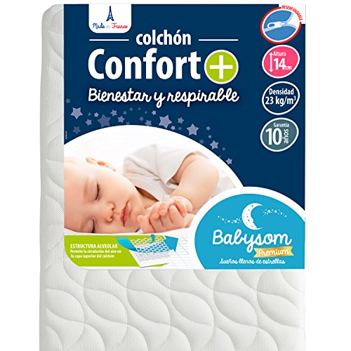 Babysom - Colchón Cuna Bebé Confort+ - 70 x 140 cm - Altura 14 cm - Antiasfixia - Transpirable - Reglaje Térmico - Desenfundable - Garantía 10 años