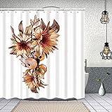 Dfform Duschvorhang,Aquarell Sonnenblumen Äpfel Herbst Design-Element,Waschbar Shower Curtains Wasserdicht & mit 12 Ringe Bad Vorhang 150x180cm