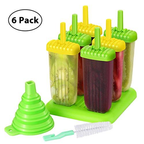 TOPELEK Eisformen 6 Eisformen Popsicle Formen Set, 6 Eis Pop Macher, LFGB Geprüft und BPA Frei, mit Reinigungsbürste und Falttrichter