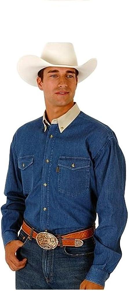 Roper Men's Contrasting Collar Twill Long Sleeve Western Shirt Big and Tall - 06-001-0812-0163 Bu