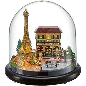 (moin moin) ドールハウス ミニチュア 手作りキット ドーム型 LEDライト 世界 を 旅する うさぎ シリーズ ( パリ の エッフェル 塔 )
