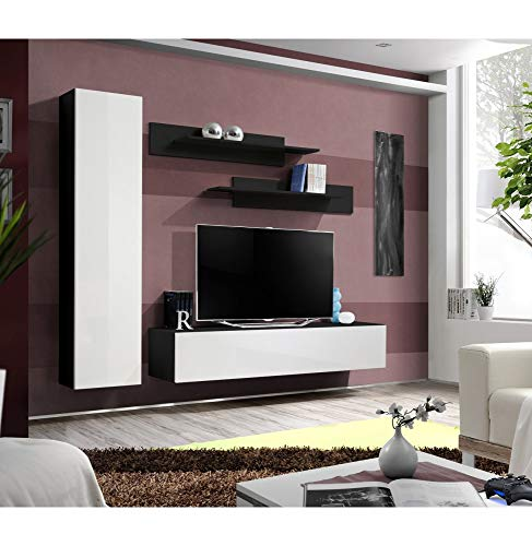 Banc TV- 5 éléments - Blanc et noir