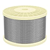 IZOKIN 1/8' 316 Stainless Steel Wire Rope Aircraft Cable for Deck Cable Railing Kit DIY Balustrade Handrail Cable,7x7 450ft