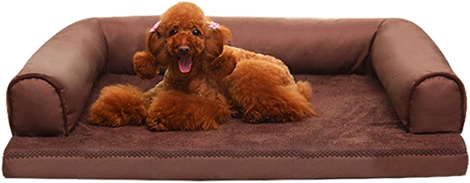 Dog bed Dog Sofa, Pet Bed Puppy Cat Mat Cushion Detachable And Washable Durable Waterproof Brown House
