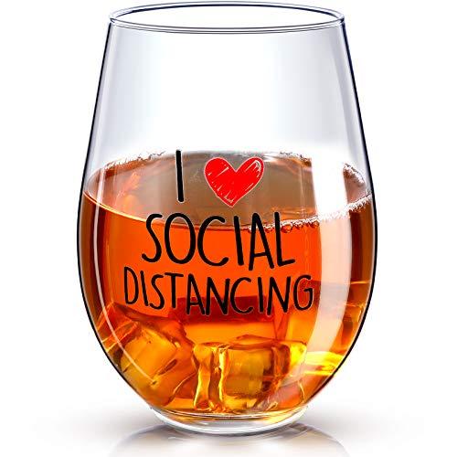 Bicchiere Vino I Love Social Distancing Bicchieri Divertente di Regalo Stay at Home 2020 Quarantena...