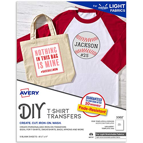 Avery Printable Stretchable Heat Transfer Paper for Light Fabrics, 8.5' x 11',...