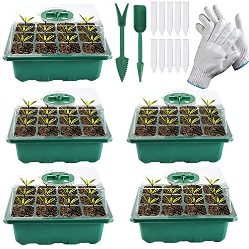 5 Bandeja Semillas,Bandejas de germinación,Invernadero Bandejas de Cultivo con Agujero en Crecimiento Semilleros de Germinación con de Domo de Humedad Ajustable - con Herramientas(12 Agujeros