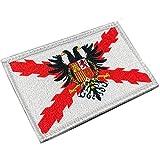 Imperial Bandera Cruz de Borgoña con Águila - Parches Ropa - Parches Militares - Tercios Españoles - Imperio Español - 80 x 50 mm