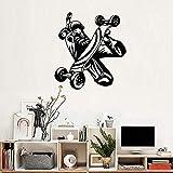 JXWH 56 cm x 60 cm monopatín Etiqueta de la Pared Vinilo Mural niño Dormitorio Junior Art decó Herramientas de equitación decoración del hogar Etiqueta de la Pared