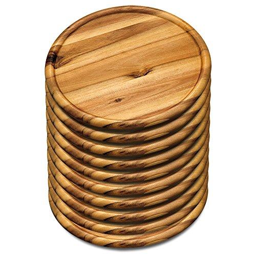 10er SET KESPER 28462 Pizzateller 32 cm aus FSC-zertifiziertem Akazienholz/Holzteller/Pizzaunterlage/Pizza-Holzteller/Holzgeschirr