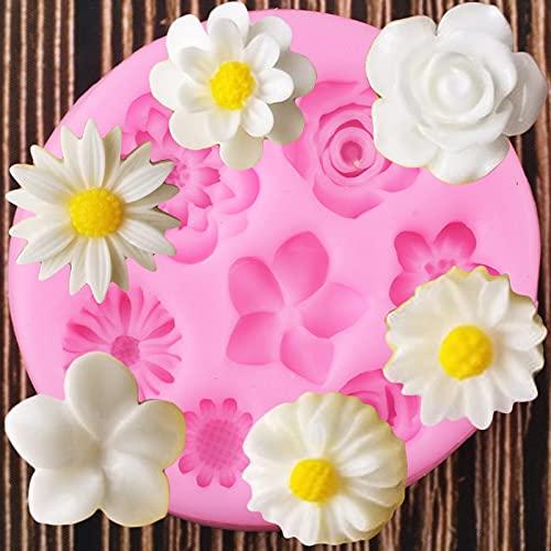 ZIYING Molde para pastel 3D de flores de rosas de silicona DIY Herramienta de decoración Frangipani Daisy Fondant Mold Candy Clay Mold