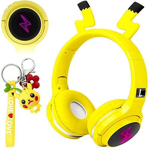 Auriculares inalámbricos Bluetooth para niños, diseño de Pikachu con micrófono integrado, color amarillo