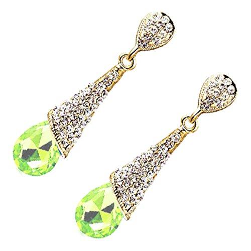 UPCO Jewellery Donna Orecchini Pendenti Lunghi Placcati Oro Giallo 18K con Pietra Verde Accolta in un Cono Tempestato di Cristalli 10 x 46 MM