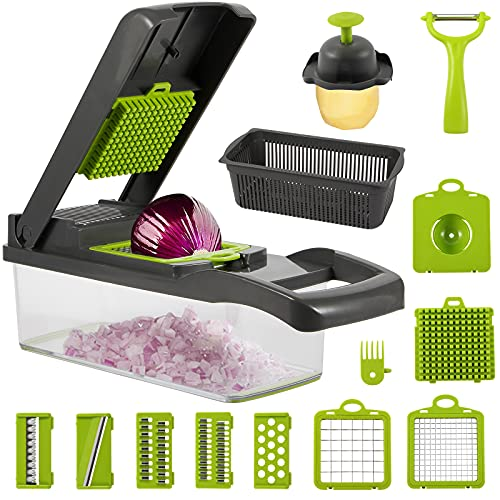 Vegetable Chopper, 12-in-1 Onion Chopper with Container and 7 Sharp Blades - Egg Separator - Pro Vegetable Slicer for Salad Fruit Carrot